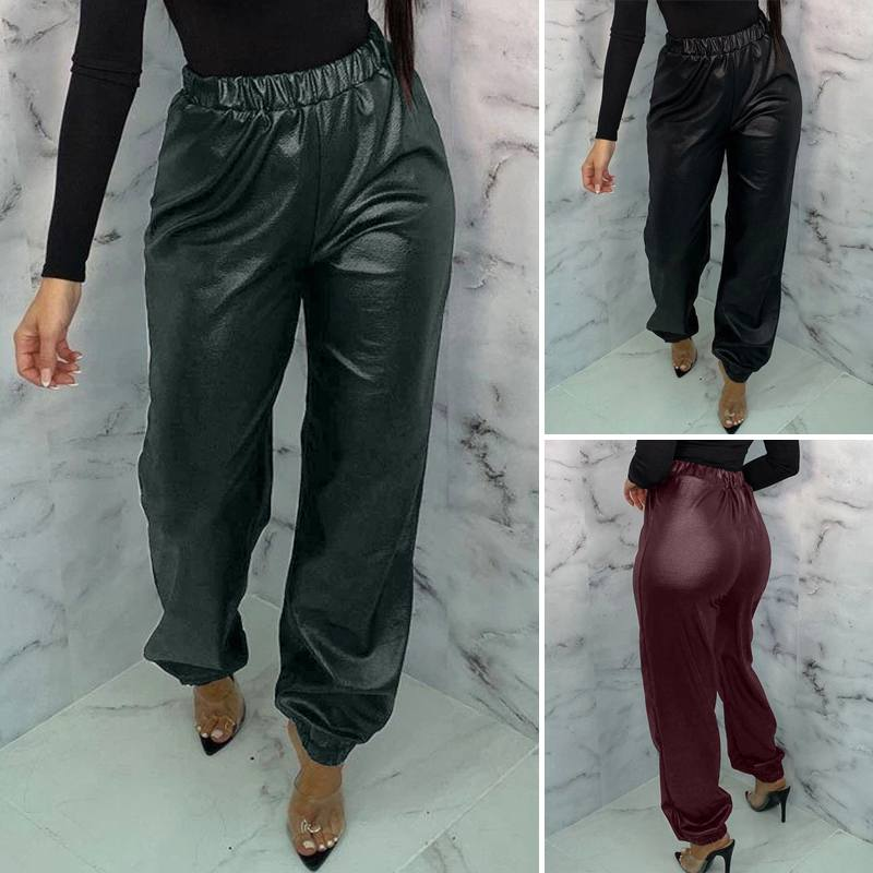Women's Elastic Waist Trousers 2020 ZANZEA Stylish PU Leather Pants Casual Streetwear Long Pantalon Female Turnip Plus Size