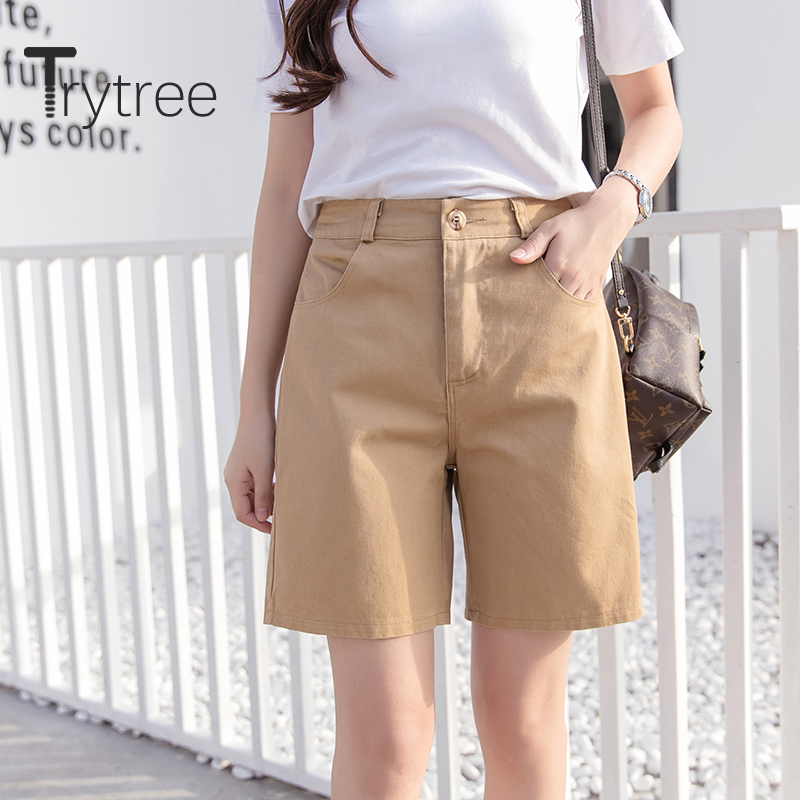 Trytree 2020 Summer Woman Casual Shorts Loose Wide Leg Short Solid Cotton 5 Color Candy All-Purpose Style Office Lady Shorts
