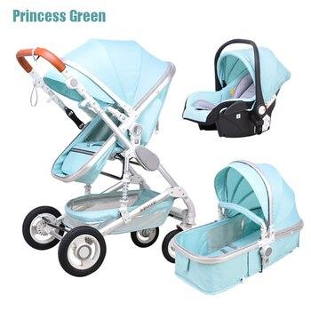 Newborn Baby Stroller 3 in 1 High Landscape Carriage Luxury Travel Pram Basket quality Stroller Baby Car seat Hot Sale Upgrade! 14