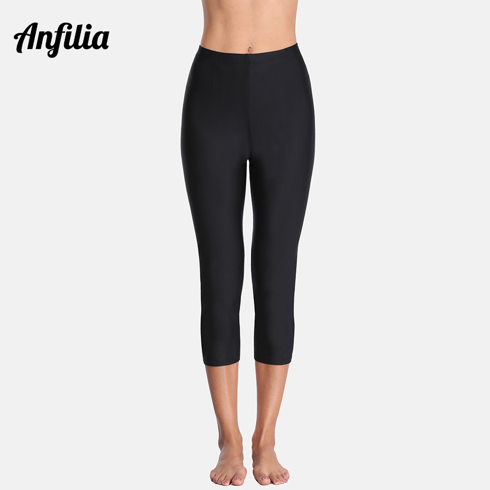 Anfilia Women Swimming Capris Pants Ladies High Waist Tankini Bottom Swimwear Capris Pants Boardshort Sports Swimming Bottoms