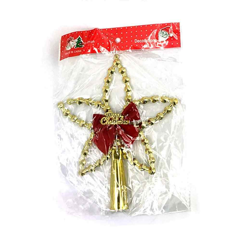 Christmas Tree Top Star Plastic Christmas Ornaments Gold Color Five- Pointed Star Christmas Decor