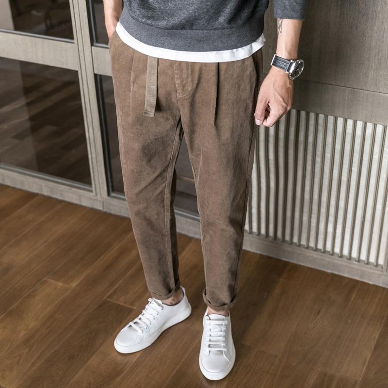 Autumn New Corduroy Pants Men Slim Fashion Retro Solid Color Cotton Casual Trousers Man Streetwear Joggers Sweatpants Men