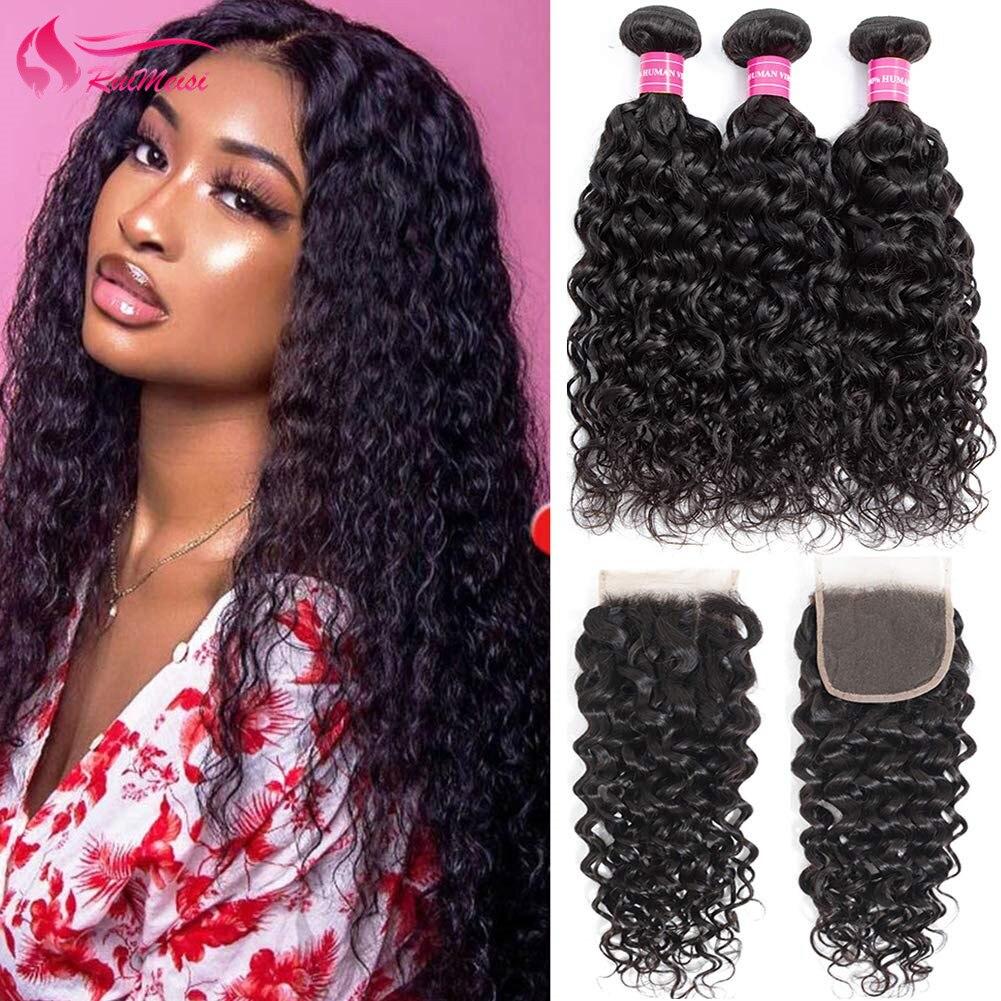 Water Wave Human Hair 3 Bundles 100% Unprocessed Virgin Human Hair 10A Peruvian Wavy Curly Weave Human Hair Bundles with Closure