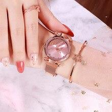 Luxury Women Watches 2019 Rose Gold Pink Magnetic Watch Women Fashion Diamond Ladies Quartz Clock Crystal Gift Relogio Feminino цена