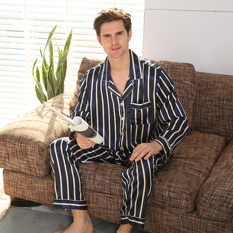Men's Pajamas Set Silk Satin Long Sleeve Pyjamas Pijama Sleepwear Nightwear Male Loungewear Stripe Home Wear Men Sleep Bottoms