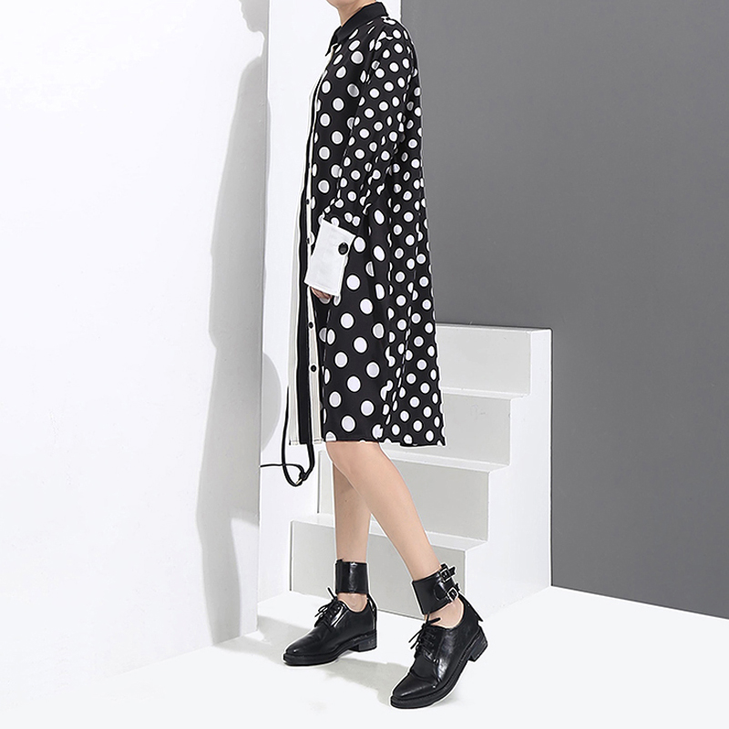 Image 4 - 2020 Korean Style Women Black Shirt Dress Polka Dots Printed & Stripes Long Sleeve Ladies Casual Midi Unique Dress vestidos 3191vestidos fvestidos fashiondress vestidos -