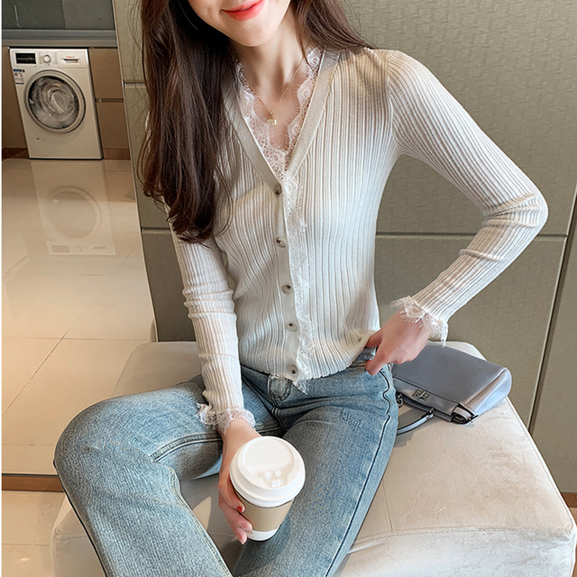 Ailegogo New Spring Women Cardigans Casual Female Lace V-neck Single Breasted Knitted Sweater Korean Style Slim Knitwear Tops 2