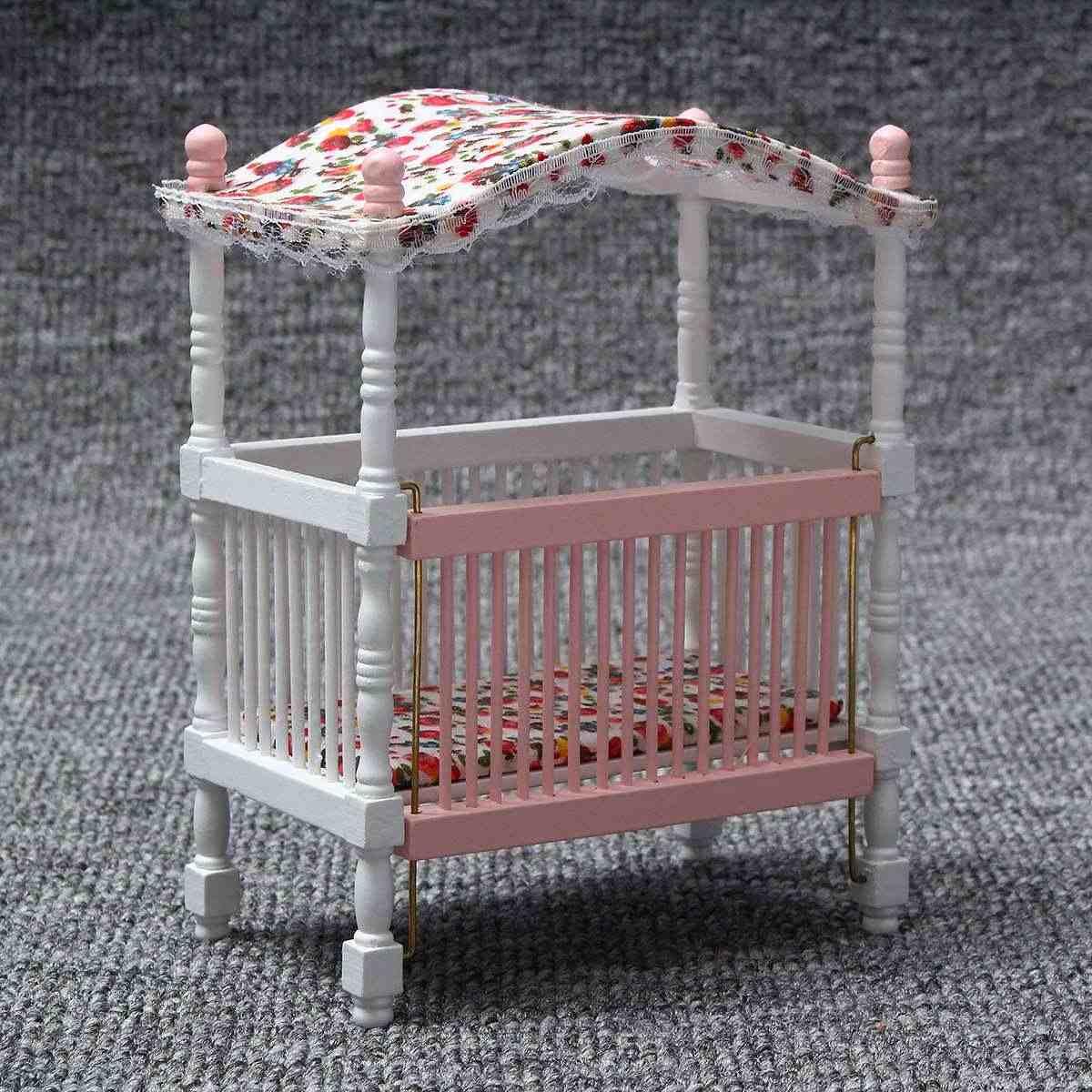 6 قطعة/المجموعة خشبية DIY دمية مصغرة أثاث غرفة نوم مجموعة ألعاب 1/12 محاكاة الأثاث لعبة مجسمة ل دمية ديكورات منزلية الوردي