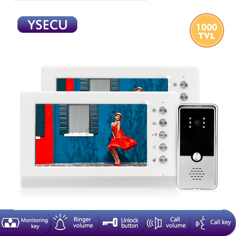 YSECU 7 Inch 1000TVL, 2*Video Intercoms Kit For Home Security,Video Door Phone With Lock(not Included),Video Intercom