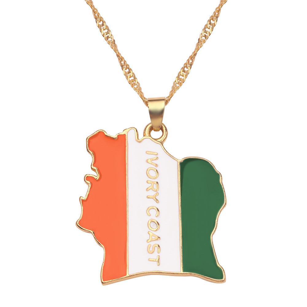 Новая карта страны, флаг, ожерелье, Африка, Гана, Liberia Undersea, Jamaica, Южная Африка, Congo, Honduras, подвеска, цепь, мужские ювелирные изделия - Окраска металла: Ivory Coast