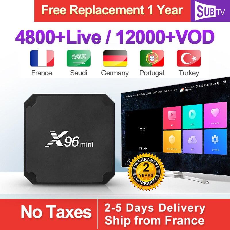 X96 MINI IPTV France Box Android 7.1 S905W France arabe IPTV SUBTV abonnement 1 an turquie Portugal Italia IPTV Full HD 4K