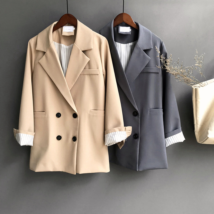 Winter Woman Blazer Jacket Coat Double Breasted Cotton Chic Long Suit Female Khaki Blue Casual Cardigan