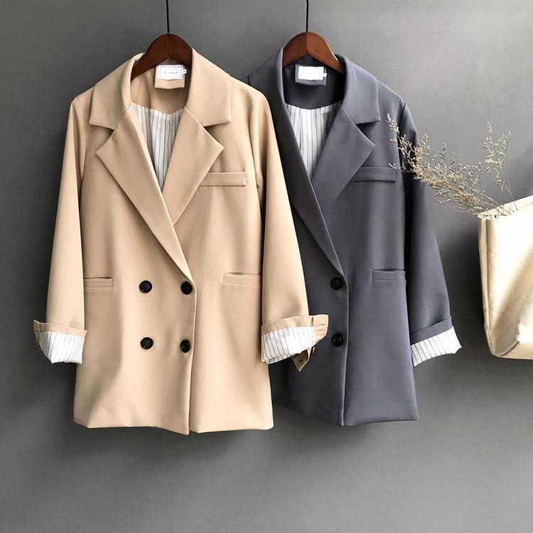 Winter Woman Blazer Jacket Coat Double Breasted Cotton Chic Long Suit Female Khaki Blue Casual Cardigan