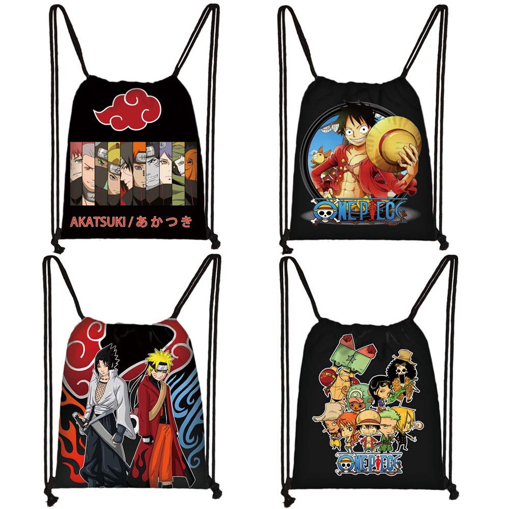 Japanese Anime Akatsuki Pein / The Sharingan / Monkey D. Luffy Drawstring Bags Teenager Boys Storage Bag Man Fashion Backpack