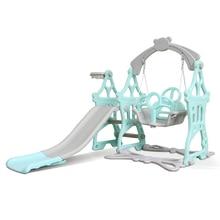 Children Castle 3 In 1 Slide Set Baby Climber Slide Swing Playset Basketball Hoop Kids Indoor Home Kindergarten Playground Toy