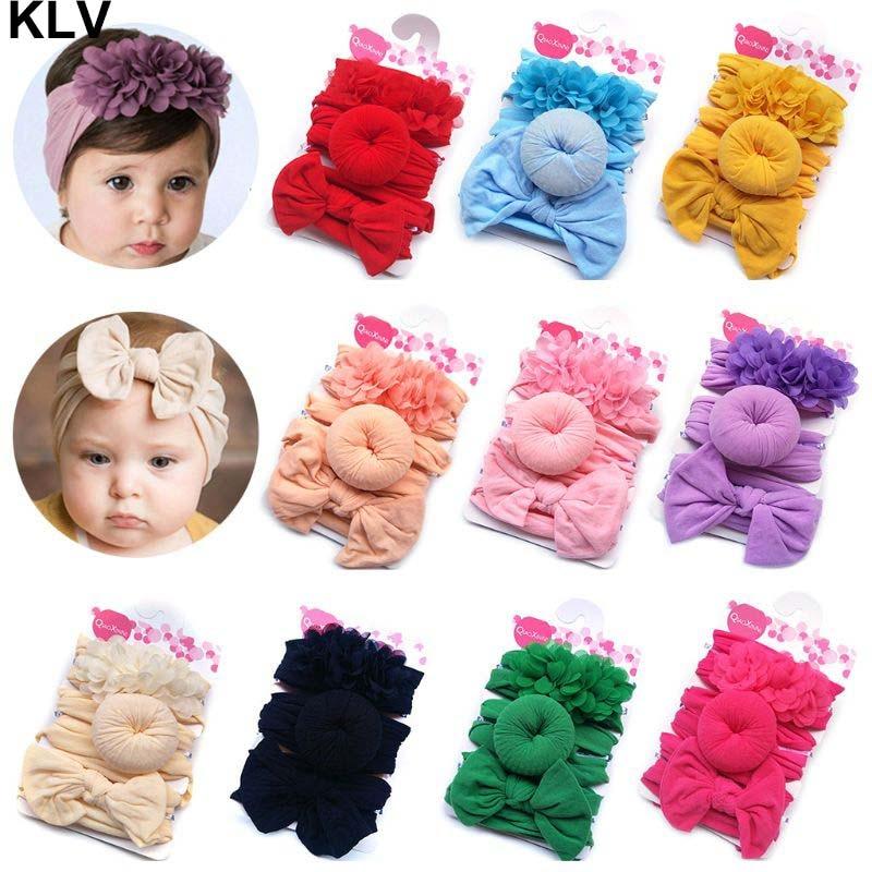 3 Pcs/set Fashion Nylon Bow Headband Newborn Baby Bow-knot Round Ball Headwrap Girls Children Flower Donut Hair Band