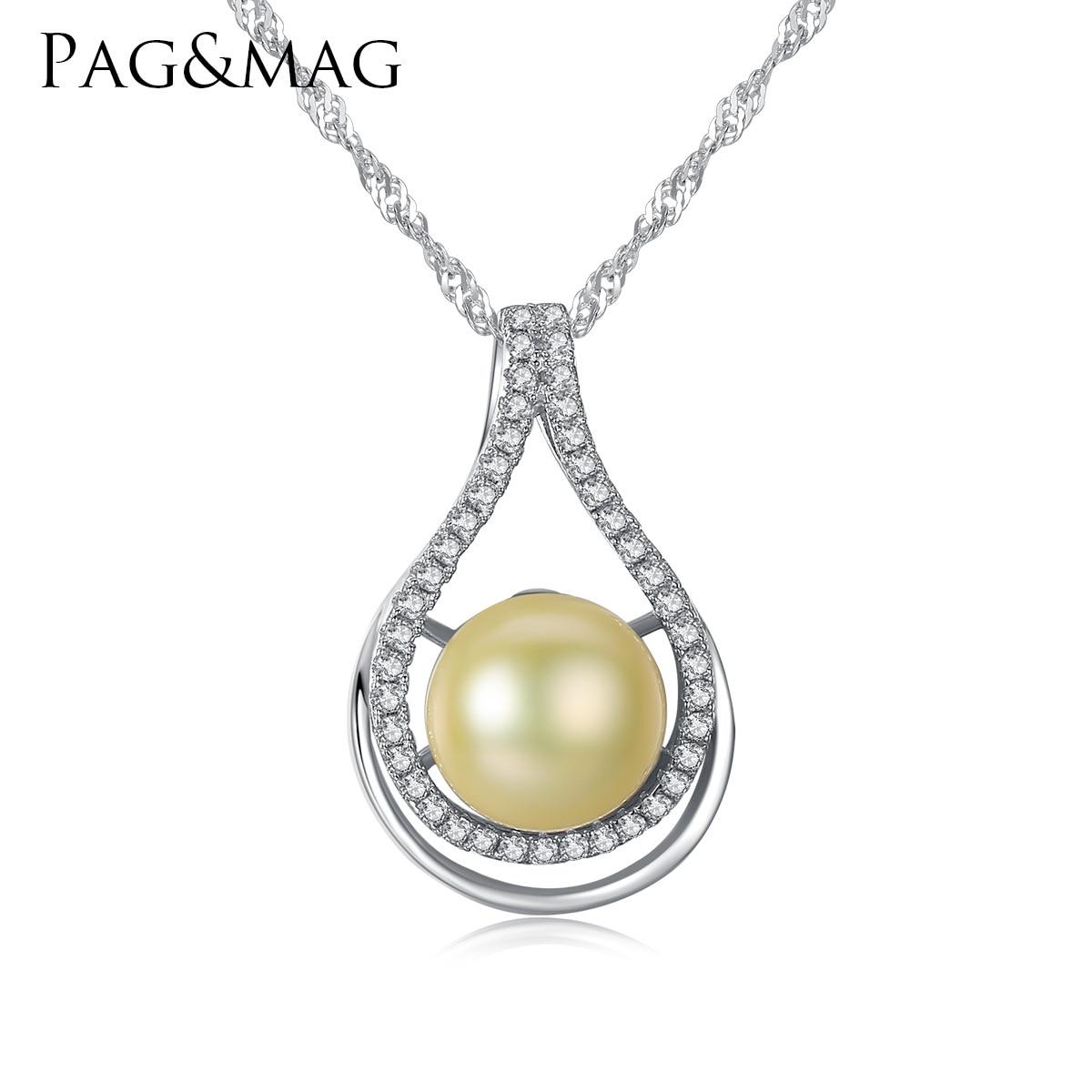 PAG & MAG naturel 10-15mm perle d'eau douce S925 collier en argent Sterling pendentif chaîne d'os féminine raffinée