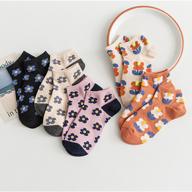 SP&CITY 5 Pair Set Cartoon Flowers Women Short Socks Breathable Comfortable Female Art Socks Original Casual Cute Socks Hipster