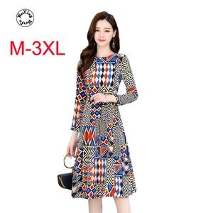 Silk dress spring new print dress medium long high grade ice silk temperament slim long sleeve silk dress M to 3XL