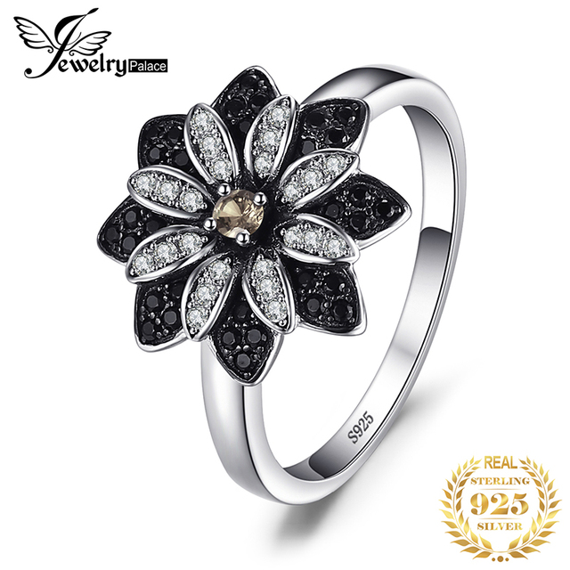 JewelryPalace Flower Genuine Smoky Quartz Black Spinel Ring 925 Sterling Silver Rings for Women Silver 925 Gemstones Jewelry