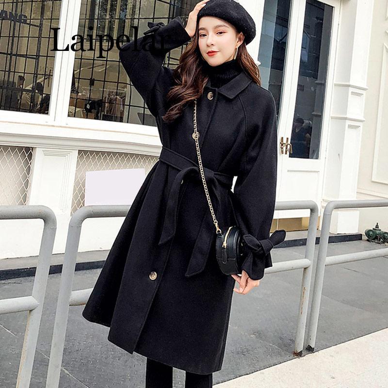 Automne hiver Hepburn vent laine mélanges manteau femmes manches bouffantes Double longs manteaux femme 2019 rétro Vintage solide dames vêtements
