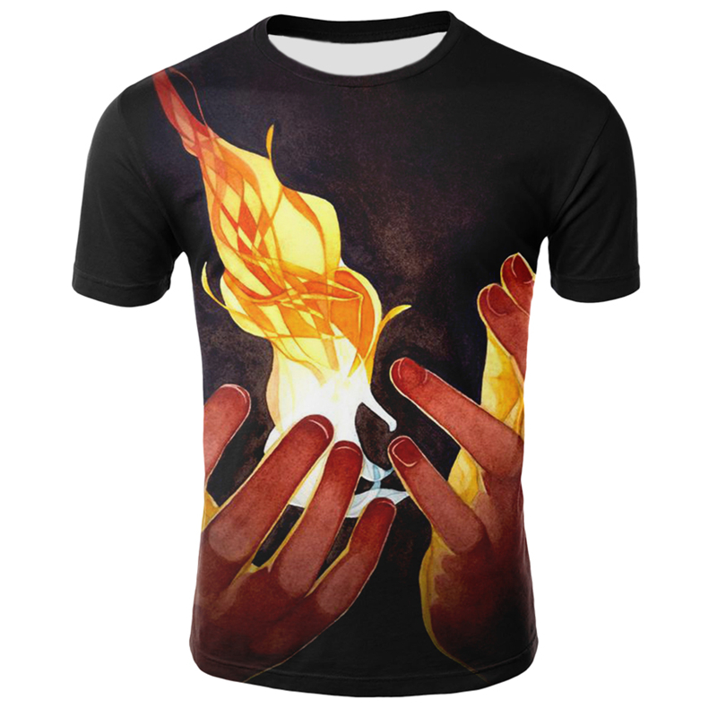 Men Hip Hop Fire T Shirt Streetwear Matchstick Fire Flame T-Shirt Summer Short Sleeve Tops Tee Harajuku Funny 3d Tshirt