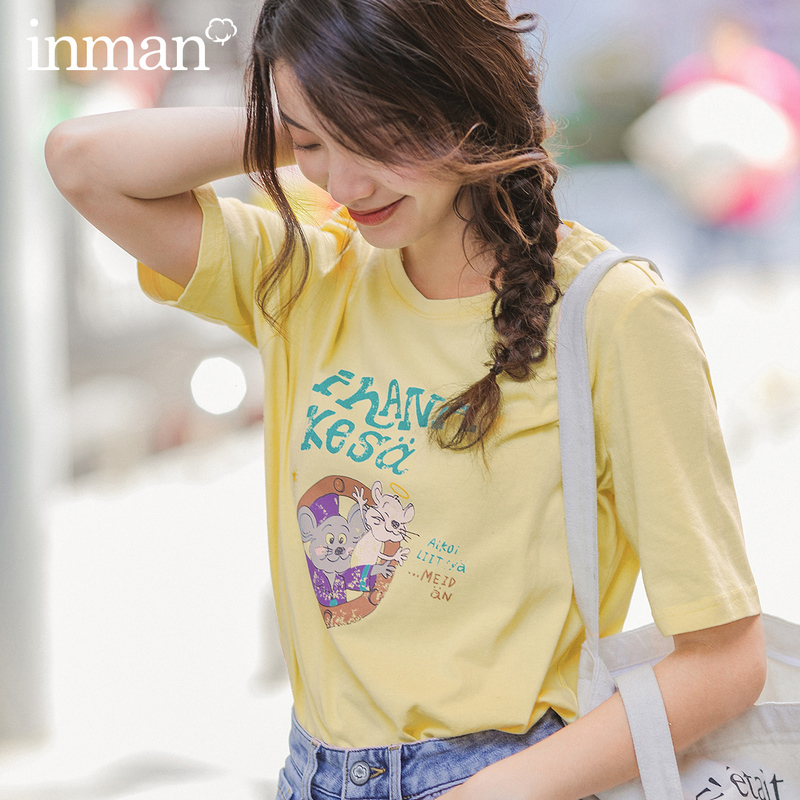 INMAN 2020 Spring New Arrival Literary Cotton Loose Funnr Animal Printed Fashion All-match Short Sleeve T-shirt