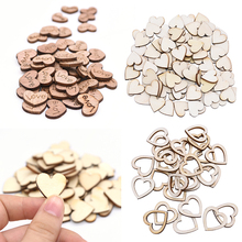100pcs Wood Wooden Hearts embellishment Handmade Crafts Sewing Accessories Scrapbooking DIY Supplies for Home Decor Love Gift cheap CN(Origin) Unfinished Wood