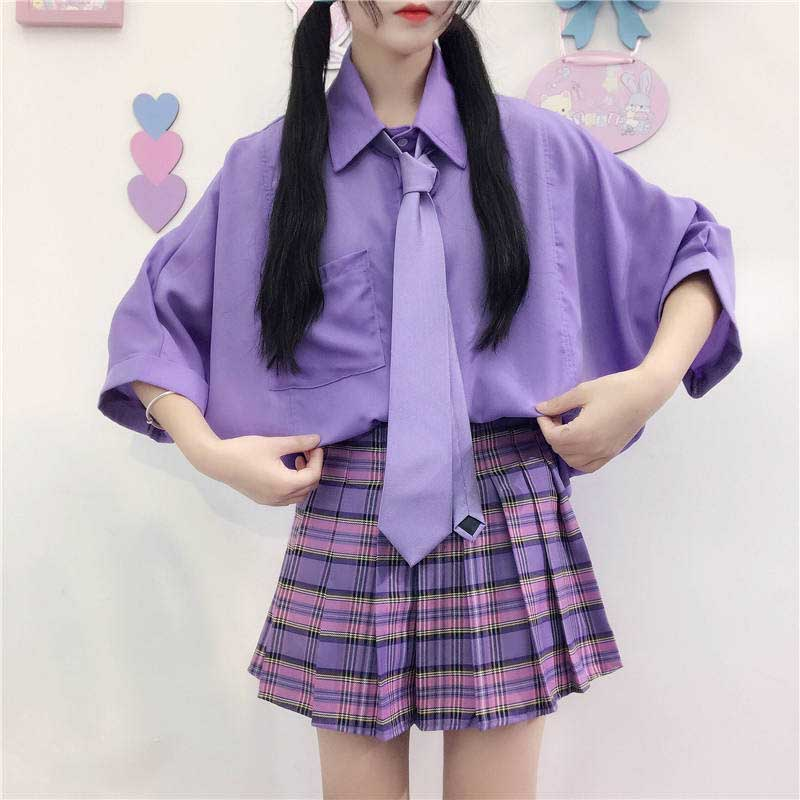 NiceMix Harajuku Lovely Purple Shirt Women With Bow Tie Casual Batwing Sleeve Loose Summer Lapel Solid Top Shirt Blouse