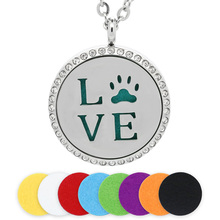 BOFEE Aromatherapy Necklace Essential Oil Diffuser Love Dog  Aroma 316L Stainless Steel Crystal Locket Pendant Jewelry Gift 30MM