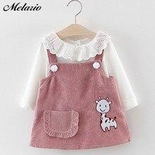Melario / платье для маленьких девочек осенняя одежда принцессы для маленьких девочек Милая футболка с длинными рукавами для девочек топы, платье с рисунком жирафа комплект из 2 предметов