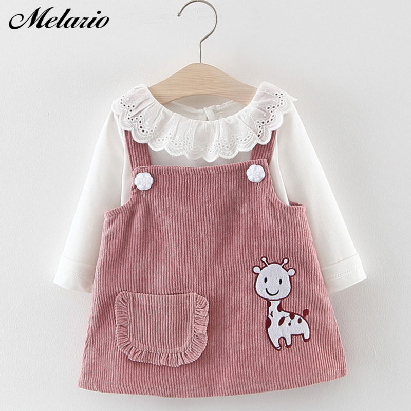 Melario Baby Girl Dress Spring Baby Girl Princess Clothes Cute Girls Long Sleeve T-shirt Tops Cartoon Giraffe Dress 2pcs Suit