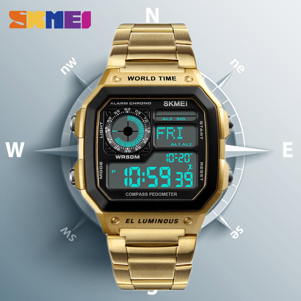 SKMEI Mens Watches Compass Countdown Digital Waterproof Electronic Luxury LED Sport Male