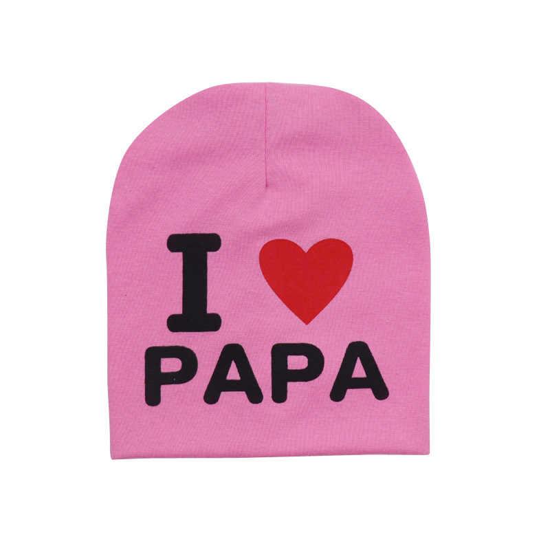 ทารกแรกเกิดฤดูใบไม้ผลิฤดูใบไม้ร่วงฤดูหนาวน่ารักหูหมวกเด็กถักพิมพ์ PAPA MAMA หมวกเด็กหญิงหมวกหมวกหมวกอุปกรณ์เสริม