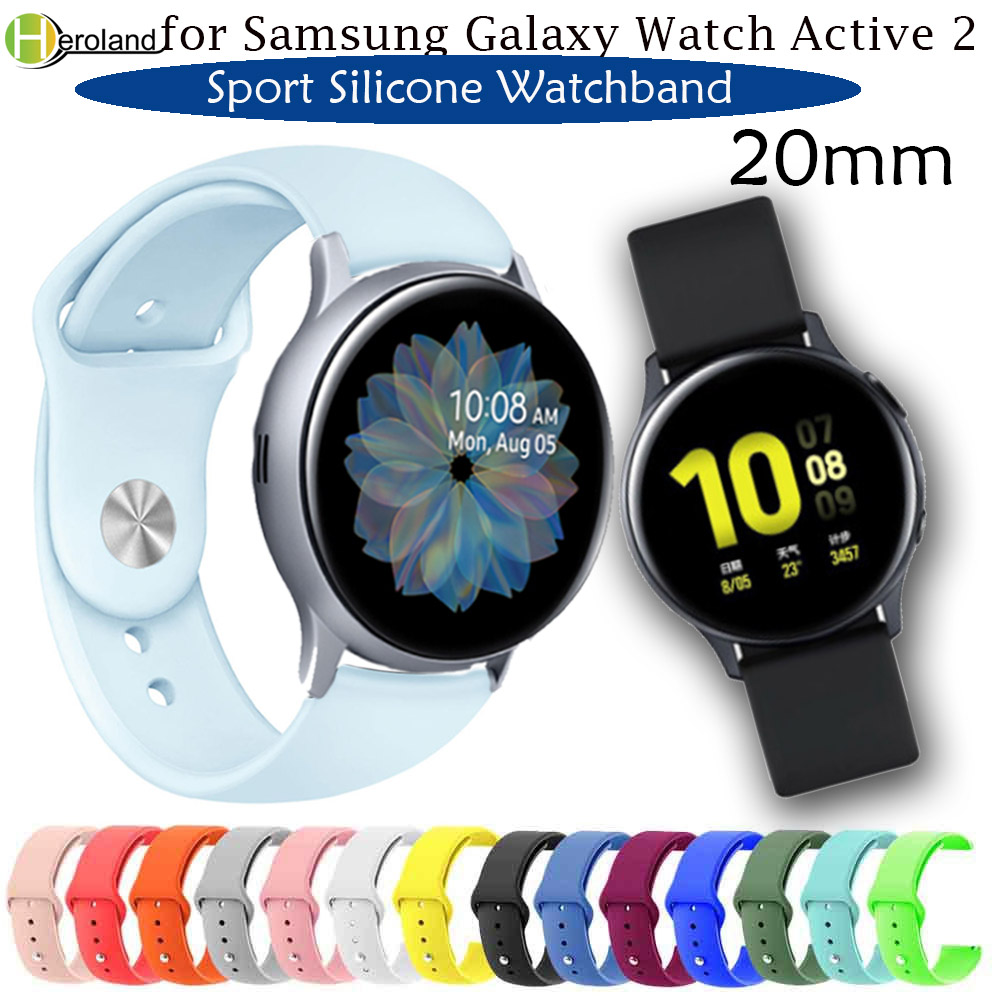 Hero Iand Soft Sport 20mm Silicone Watch Band For Samsung Galaxy Watch Active  2 2 40/44mm Bracelet Belt Smart Wristbands Strap