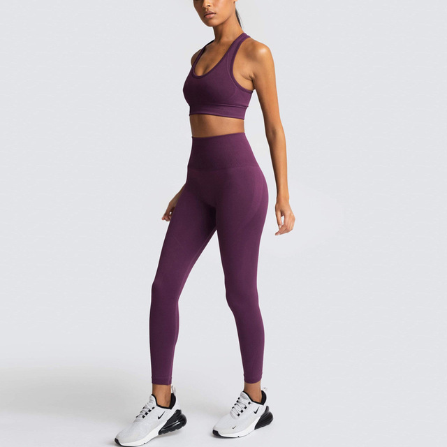 2 Piece Set Tracksuit Women Summer Seamless Yoga Sets Gym Clothes Sport Set Fitness Clothing Workout Clothes for Women