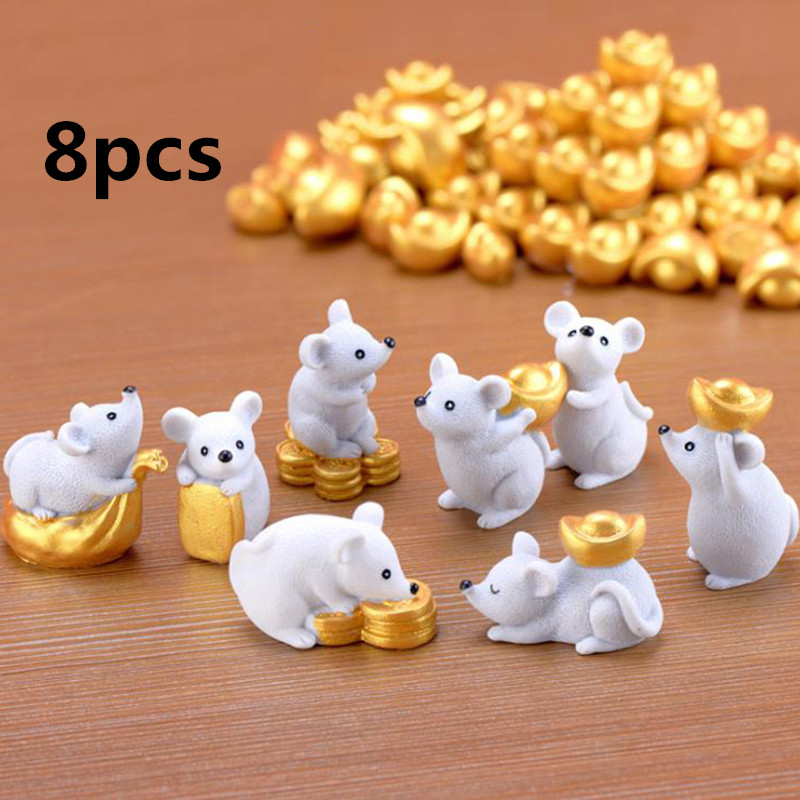 8pcs Rich Rat Mouse Figurines Miniatures Resin Animals Home Decoration Accessories Figurines DIY Dollhouse Furniture Toys Gift