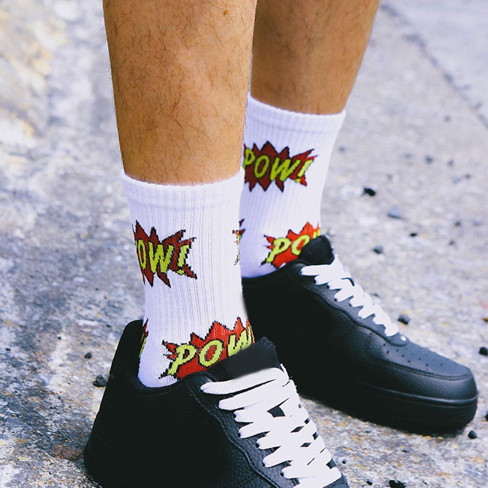 Fashion Pow Letter Print Socks Men Socks Women Breathable Skateboard Middle Tube Crew Socks