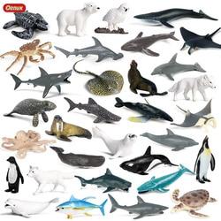 Oenux 32 шт Мини Морская жизнь, Акула, Кит, Пингвин Дельфин черепаха лучей модель морской океан экшн-фигурки животных миниатюрный детские игруш...