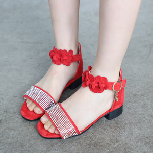 Image 1 - ילדים של נעלי בנות סנדלי קיץ חדש ילדה קטנה נעלי רך החלקה עור ריינסטון עקבים גבוהים נסיכת נעליים עבור ילדים