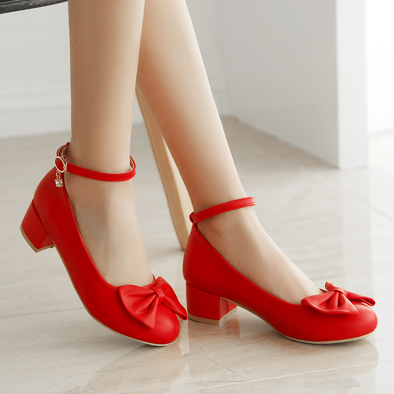 Bigger Girls High Heeled Leather Shoes Bow Teenager Girls Party Shoes Heeled Student Showed High Heeled Shoes High Quality
