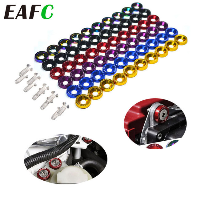10pcs M6 JDM Car Modified Hex Fasteners Fender Washer Bumper Engine Concave Screws Car styling