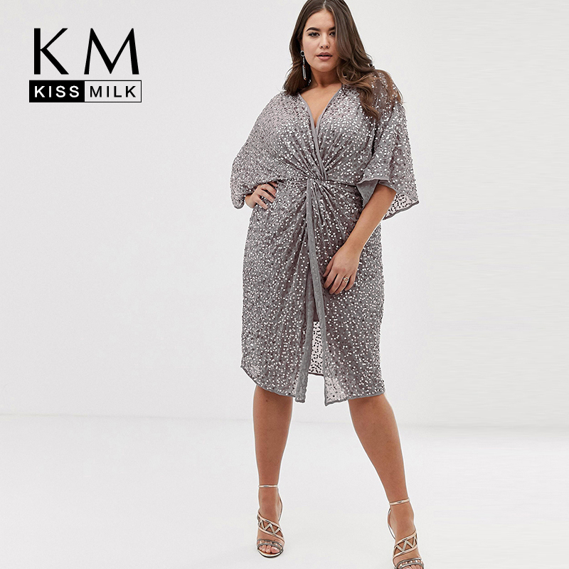 Kissmilk 2019 New Fashion Women V-neck Large Size Sexy Front Twisted Sequined Trumpet Sleeves Dress
