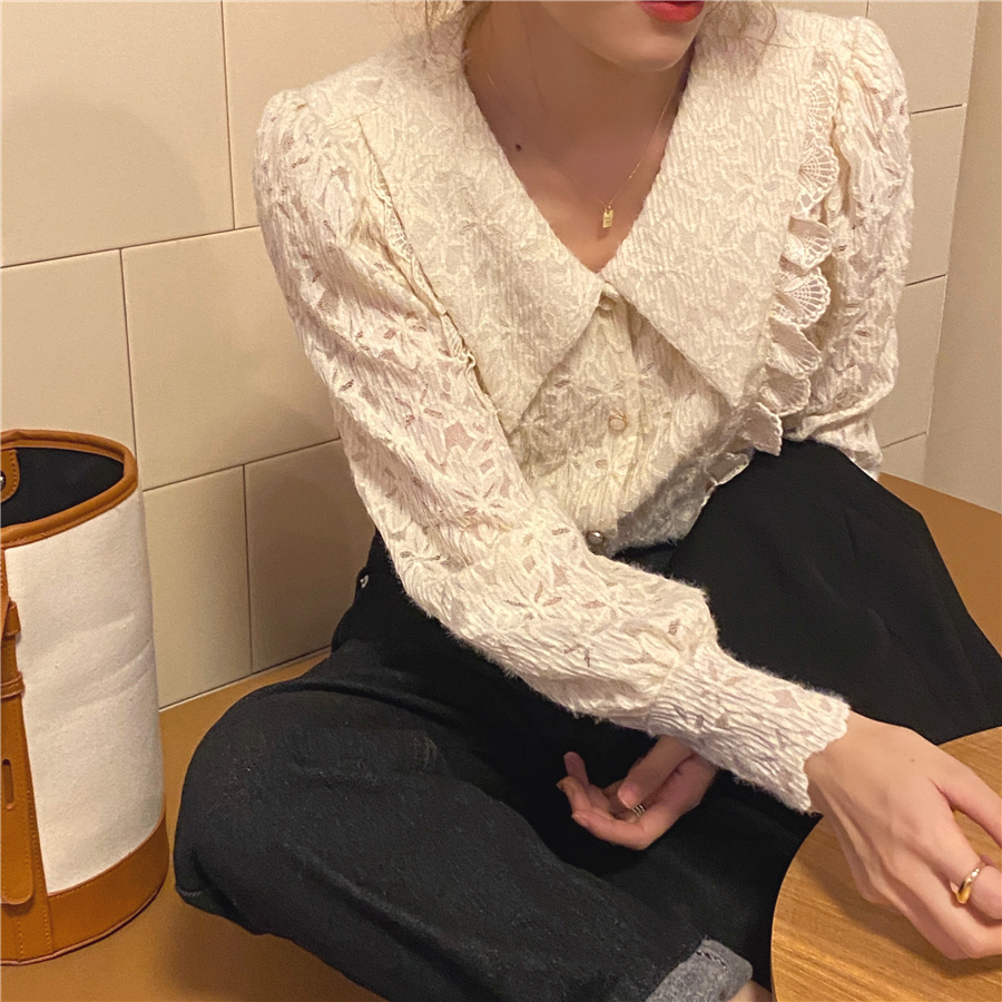 H1c48b032f85d4d91a6f94c11a005f9f9v - Spring / Autumn Chelsea Collar Long Sleeves Lace Blouse