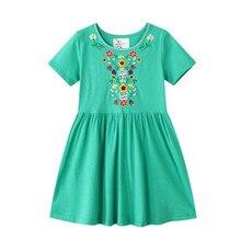 Детское летнее хлопковое платье принцессы, с вышивкой