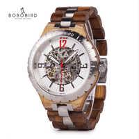 BOBO BIRD Mechanical Wristwatches Men Wooden Metal Watch Waterproof Luxury Timepiece relogio masculino C-uQ29