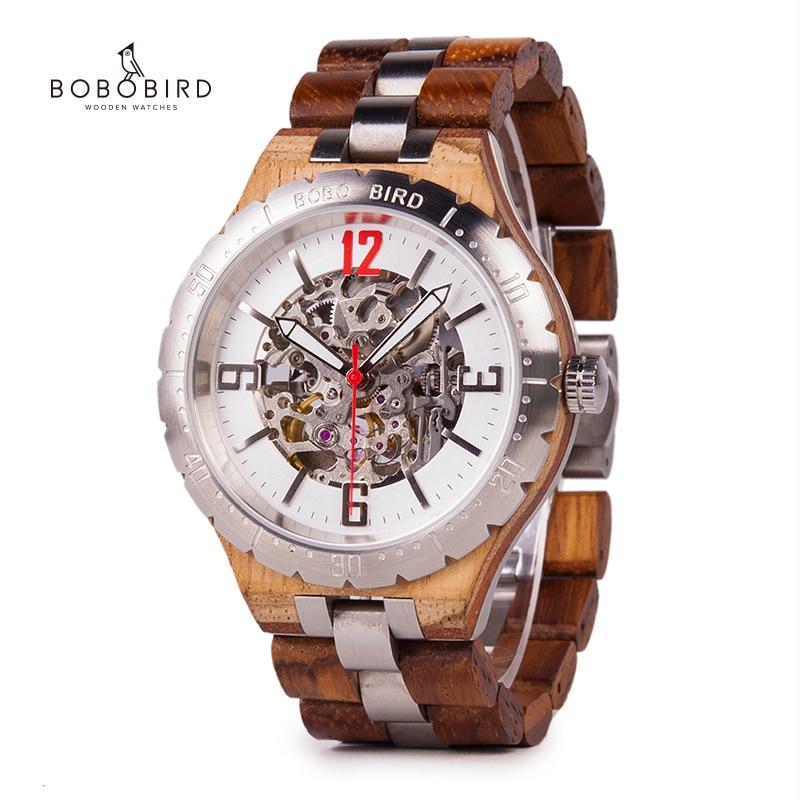 Bobo pássaro mecânico relógios de pulso masculino relógio de metal de madeira à prova dwaterproof água relógio de luxo relogio masculino C uQ29