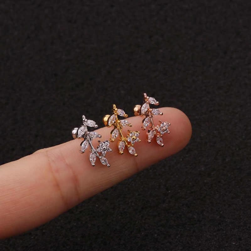 Sellsets 1Pc 20g נירוסטה Helix פירסינג תכשיטים מעוקב Zirconia אוזן אונה Tragus Daith סחוס בורג חזרה עגיל הרבעה