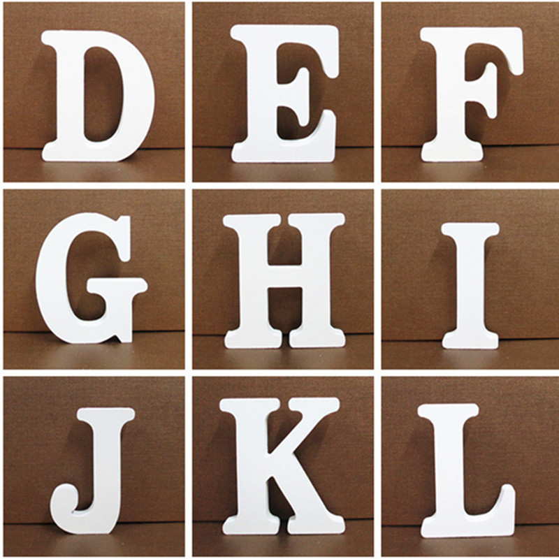 10CM white Wooden Letter English Alphabet DIY Personalised Name Design Art Craft Free Standing Heart Party Wedding Home Decor