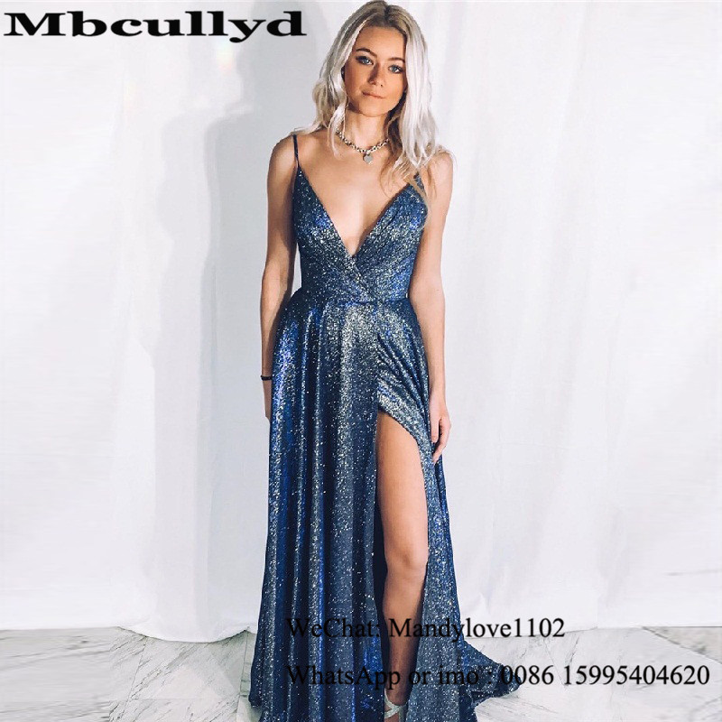 Mbcullyd Sequined Rochii Long Prom Dresses Elegant 2020 Sexy High Side Split Dress For Evening A-line Vestido De Formatura Longo